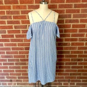 Lush Striped Cold Shoulder Dress with Pockets